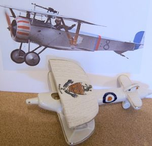 Carlton China Crested Ware - Anglo-French WWI Biplane - Eastbourne